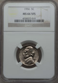 Jefferson Nickels, 1956 5C MS66 Five Full Steps NGC. NGC Census: (58/4). PCGS Population: (54/2)....