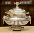 Silver Holloware, British, A George Glossop & Co. George III-Style Silver-Plated CoveredBowl, late 19th/early 20th century. Marks: GG&Co. 6-1/2in...