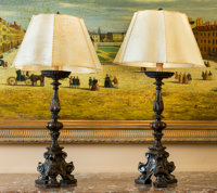 A Pair of Italian Baroque-Style Pricket Candle Sticks Mounted as Table Lamps, late 18th century and later 36 inche
