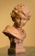 Decorative Arts, French, A French Painted Terracotta Bust of a Maiden, mid-20th century. 22h x 16 w x 6 d inches (55.9 x 40.6 x 15.2 cm). ...