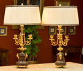 Decorative Arts, French:Lamps & Lighting, A Pair of Napoleon III-Style Gilt Metal Mounted Marble Three-LightCandelabra Mounted as Lamps, early 20th century. 28-3/4 i...(Total: 2 Items)