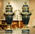 Decorative Arts, French, A Pair of Louis XVI-Style Gilt Bronze Mounted Green Marble Urns, 20th century. 21 h x 11 w x 8-1/2 d inches (53.3 x 27.9 x 2... (Total: 2 Items)