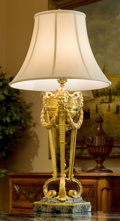 Decorative Arts, French:Lamps & Lighting, A Louis XV-Style Gilt Bronze Table Lamp with Verde Marble Base,20th century. 39 inches high (99.1 cm) . ...