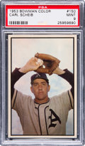 Baseball Cards:Singles (1950-1959), 1953 Bowman Color Carl Scheib #150 PSA Mint 9 - Pop Three, NoneHigher. ...