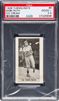 Baseball Cards:Singles (Pre-1930), 1928 Yuengling's Ice Cream Babe Ruth #6 PSA Good+ 2.5. ...