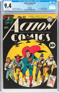 Golden Age (1938-1955):Superhero, Action Comics #52 San Francisco Pedigree (DC, 1942) CGC NM 9.4 White pages....