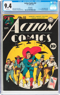 Action Comics #52 San Francisco Pedigree (DC, 1942) CGC NM 9.4 White pages
