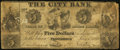 Obsoletes By State:Rhode Island, Providence, RI- City Bank Spurious $5 May 1, 1849. ...