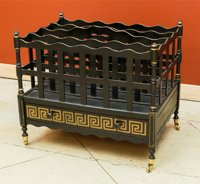 A Large Regency-Style Painted Canterbury, early 20th century 22 h x 25 w x 17 d inches (55.9 x 63.5 x 43.2 cm)