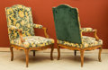 Furniture : French, A Pair of French Régence Cut-Velvet Upholstered Walnut Fauteuils,18th c. 43 h x 27 w x 25 d inches (109.2 x 68.6 x 63.5... (Total: 2Items)