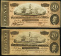 Confederate Notes:1864 Issues, T67 $20 1864 Two Examples.... (Total: 2 notes)