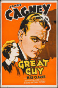 "Movie Posters:Drama, Great Guy (Grand National, 1936). Trimmed One Sheet (27"" X 41"").Drama.. ..."