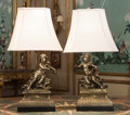 Decorative Arts, French:Lamps & Lighting, A Pair of Louis XVI-Style Bronze Garniture Mounted as Lamps, early20th century and later. 32 inches high (81.3 cm). ... (Total: 2Items)