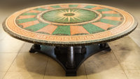 A Robert H.M. Stern Designed Massive Neoclassical-Style Terrazzo Inlaid Dining Table, late 20th century 29 h x 90