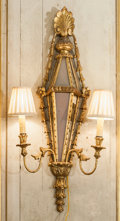 Decorative Arts, French, A Pair of Louis XVI-Style Giltwood and Mirrored Two-Light Sconces.33 h x 15 w x 5 d inches (83.8 x 38.1 x 12.7 cm). ... (Total: 2Items)