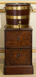 Furniture , An English Brass Banded Mahogany Cask and Under Cabinet, early 20th century. 36 h x 14-1/2 w x 14-1/2 d inches (91.4 x 36....