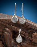 Meteorites:Irons, Muonionalusta Earrings and Pendant. Muonionalusta - Iron fine octahedrite - (IVA). Northern Sweden - (67° 48'N, 23° 6'E)... (Total: 3 Items)