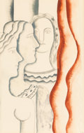 Fine Art - Work on Paper:Watercolor, Fernand Léger (1881-1955). Untitled (Three Women). Gouache and pencil on paper. 29 x 21 inches (73.7 x 53.3 cm) (sheet)...