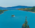 Paintings, Gregory Kondos (b. 1923). Emerald Bay, 2001. Oil on canvas. 19-3/8 x 24-3/8 inches (49.2 x 61.9 cm). Signed and dated lo...