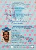 Baseball Collectibles:Others, 1999-2006 Gary Carter Signed Passport from The Gary CarterCollection. ...