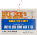 Music Memorabilia:Posters, Bee Gees ABC Chester Concert Window Card (UK, 1968)....