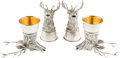 Movie/TV Memorabilia:Instruments , An Ernest Borgnine Set of Pewter Stag Stirrup Cups by Gucci, Circa1980s.... (Total: 4 Items)
