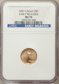 Modern Bullion Coins, 2007 $5 Tenth-Ounce Gold Eagle, Early Releases, MS70 NGC. NGC Census: (0). PCGS Population: (89)....