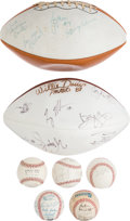 Movie/TV Memorabilia:Memorabilia, An Ernest Borgnine Group of Signed Baseballs and Footballs,1970s-2000s....