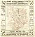 """Miscellaneous:Maps, Railroad Map: """"Central Route and Pioneer Line!: The Houston &Texas Central and Missouri, Kansas & Texas Rail Yards""""..."""