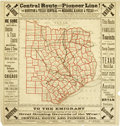 "Miscellaneous:Maps, Railroad Map: ""Central Route and Pioneer Line!: The Houston &Texas Central and Missouri, Kansas & Texas Rail Yards""..."
