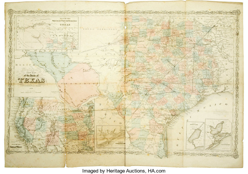 1870 Map Of Texas.Willard Richardson New Map Of The State Of Texas 1870 Lot