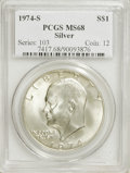 Eisenhower Dollars: , 1974-S $1 Silver MS68 PCGS. PCGS Population (804/2). NGC Census: (119/1). Mintage: 1,900,156. Numismedia Wsl. Price for NGC...