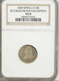 Bust Dimes, 1820 10C Small 0 VG8 NGC. Ex: Jules Reiver Collection, Jr-5. PCGSPopulation (1/12). Numismedia Wsl. ...