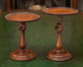 Decorative Arts, British:Other , Two English Carved Mahogany Wig Stands, 19th century. 8-1/2 incheshigh (21.6 cm) (taller). ... (Total: 2 Items)
