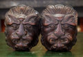 Decorative Arts, Continental:Other , A Pair of Carved Oak Lion Wall Mounts, late 19th century. 7-1/4inches high x 5-3/8 inches wide (18.4 x 13.7 cm). ...