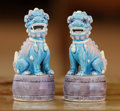 Asian:Chinese, A Small Pair of Chinese Polychrome Porcelain Foo Lions, 20thcentury. 4-3/8 inches high (11.1 cm). ... (Total: 2 Items)