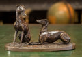 Bronze:European, A Bronze Figural Group of Two Whippets, after Charles Wilkinson,20th century. Marks: C. WILKINSON; Susse Fres. 5-1/8 h ...