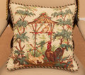 Paintings, A Needlepoint Pillow with Chicken and Pagoda Motifs, 20th century. 16 h x 17-1/2 w inches (40.6 x 44.5 cm). ...