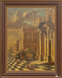 "A Scene of a Palazzo with Maharaja's Elephants Oil and Mixed Media on Canvas Early 21st century; signed ""Hick"