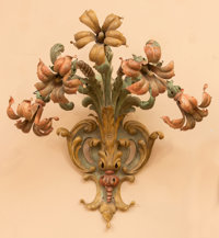 A Pair of Rococo-Style Painted Tole Appliqués, mid-20th century 23 h x 22 w x 17 d inches (58.4 x 55.9 x 43.2 cm)...