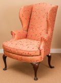 Furniture , A Queen Anne-Style Silk Upholstered Mahogany Wingback Armchair, early 20th century. 43 h x 30 w x 27 d inches (109.2 x 76.2...