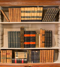 Decorative Arts, Continental, Sixty-Five Leather and Cloth Bound Volumes in French and English,late 19th century and later. 13 inches high (33.0 cm) (tal...(Total: 65 Items)