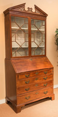 Furniture , A American Federal Carved Cherry Secretary Bookcase, early 19th century with later elements. 90 h x 40 w x 21-1/2 d inches (...