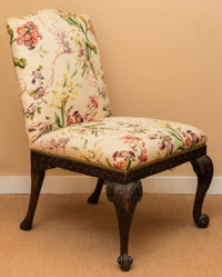 A George III Upholstered Mahogany Backstool Chair, late 18th century 37 h x 25 w x 22 d inches (94.0 x 63.5 x 55.9
