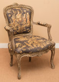Furniture : French, A Louis XV-Style Upholstered Walnut Fauteuil, 19th century. 35-1/4h x 24-1/2 w x 21 d inches (89.5 x 62.2 x 53.3 cm). ...