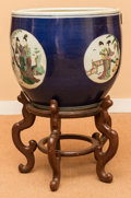 Asian:Chinese, A Chinese Polychrome Porcelain Fishbowl Jardinière with Stand.16-1/2 inches high x 18 inches diameter (41.9 x 45.7 cm) (wit...(Total: 2 Items)