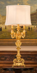 Decorative Arts, French:Lamps & Lighting, A Louis XIV-Style Gilt Bronze Candelabrum Mounted as a Lamp, late19th century. 45 inches high (114.3 cm) (overall). ...