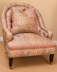 A Turkish-Style Paisley Upholstered Reading Chair, early 21st century 37-1/2 h x 32 w x 36 d inches (95.3 x 81.3 x