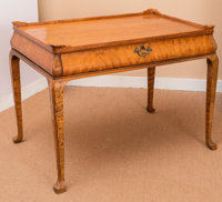A Queen Anne-Style Satinwood Tea Table, 19th century 28 h x 37 w x 24-1/2 d inches (71.1 x 94.0 x 62.2 cm)