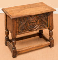 Furniture : French, A Jacobean-Style Carved Oak Stool with Storage Compartment, early20th century. 19 h x 20 w x 11-1/2 d inches (48.3 x 50.8 x...